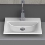 Bathroom Sink, CeraStyle 031600-U, Rectangle White Ceramic Vessel or Drop In Sink