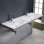 Bathroom Sink, CeraStyle 032500-U, Rectangular Double White Ceramic Wall Mounted or Drop In Sink
