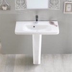 Bathroom Sink, CeraStyle 033300U-PED, Rectangular White Ceramic Pedestal Sink
