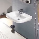 Bathroom Sink, CeraStyle 033100-U, Rectangle White Ceramic Wall Mounted or Self Rimming Sink