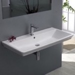 Bathroom Sink, CeraStyle 040300-U, Rectangle White Ceramic Wall Mounted or Drop In Sink