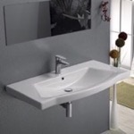 Bathroom Sink, CeraStyle 040500-U, Rectangle White Ceramic Wall Mounted or Drop In Sink