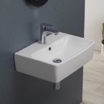 Bathroom Sink, CeraStyle 061600-U, Square White Ceramic Wall Mounted or Vessel Bathroom Sink