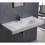 Rectangular White Ceramic Wall Mounted or Self-Rimming Sink