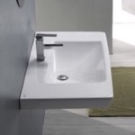 Bathroom Sink, CeraStyle 068100-U, Rectangle White Ceramic Wall Mounted or Drop In Sink