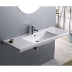 Rectangular White Ceramic Wall Mounted, Vessel, or Self-Rimming Bathroom Sink