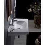 Bathroom Sink, CeraStyle 069000-U, Rectangle White Ceramic Wall Mounted Sink or Drop In Sink