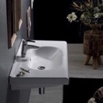 Bathroom Sink, CeraStyle 069100-U, Rectangle White Ceramic Wall Mounted Sink or Drop In Sink