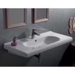 Bathroom Sink, CeraStyle 069200-U, Rectangle White Ceramic Wall Mounted Sink or Self Rimming Sink