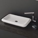 Bathroom Sink, CeraStyle 075700-U, Rectangle White Ceramic Vessel Sink