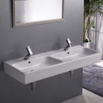 Bathroom Sink, CeraStyle 080700-U, Double Rectangular Ceramic Wall Mounted or Vessel Sink