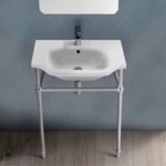 Bathroom Sink, CeraStyle 081000-CON, Traditional Ceramic Console Sink With Chrome Stand
