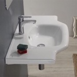 Bathroom Sink, CeraStyle 081200-U, Rectangular White Ceramic Wall Mounted or Drop In Bathroom Sink