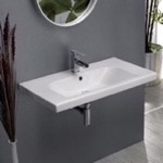 Bathroom Sink, CeraStyle 081600-U, Rectangle White Ceramic Wall Mounted or Drop In Sink