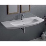 Bathroom Sink, CeraStyle 083700-U, Rectangle White Ceramic Wall Mounted or Drop In Sink