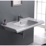 Bathroom Sink, CeraStyle 090800-U, Rectangle White Ceramic Wall Mounted or Drop In Sink