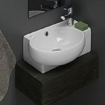 Curved Corner White Ceramic Wall Mounted or Vessel Sink