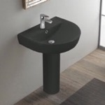 Bathroom Sink, CeraStyle 003109U-97-PED, Round Matte Black Ceramic Pedestal Sink