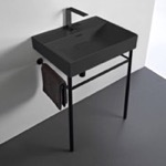 Bathroom Sink, CeraStyle 037107-U-97-CON-BLK, Rectangular Matte Black Ceramic Console Sink and Matte Black Stand