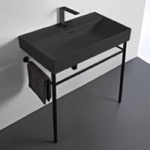 Bathroom Sink, CeraStyle 037307-U-97-CON-BLK, Rectangular Matte Black Ceramic Console Sink and Matte Black Stand