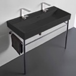 Bathroom Sink, CeraStyle 037607-U-97-CON, Trough Matte Black Ceramic Console Sink and Polished Chrome Stand