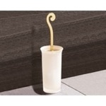 Round Frosted Glass Toilet Brush Holder With Gold Handle