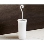 Round Frosted Glass Toilet Brush Holder With Chrome Handle 3333-13