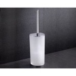 Frosted Glass Toilet Brush Holder With Chrome Base