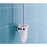 Wall Mounted Cone Shaped Frosted Glass Toilet Brush Holder