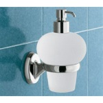 Wall Mounted Bubble Shaped Glass Soap Dispenser with Chrome Mounting