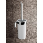 Wall Mounted Glossy White Glass Toilet Brush Holder With Chrome Mounting