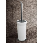 Toilet Brush, Gedy 3533-02, Round White Glass Toilet Brush Holder With Chrome Base