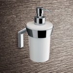 Wall Mounted Round Glossy White Glass Soap Dispenser