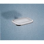 Wall Mounted Frosted Glass Soap Dish With Two Tone Chrome Holder