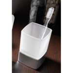 Square Frosted Glass Toothbrush Holder With Chrome Base