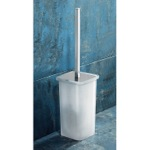 Square White Glass Toilet Brush Holder