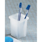 Toothbrush Holder, Gedy 5798-02, Square Frosted Glass Toothbrush Holder