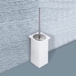 White or Moka Ceramic Toilet Brush Holder