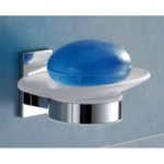 Wall Mounted Round Frosted Glass Soap Dish With Chrome Mounting