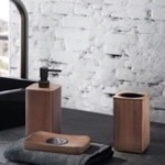 Walnut Three Piece Bathroom Accessory Set