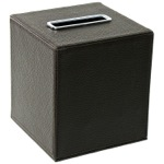 Square Tissue Box Holder Made From Faux Leather in Wenge Finish