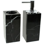 Black 2 Piece Marble Bathroom Accessory Set