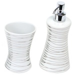 Silver Finish 2 Piece Decorative Bathroom Accessory Set
