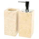 2 Piece Natural Sand Bathroom Accessory Set