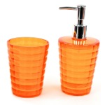 Orange Tumbler and Soap Dispenser Accessory Set GL500-67