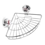 Suction Cup Chrome Single Basket Rounded Triangle Shower Basket