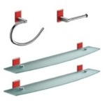 Red And Chrome 4 Piece Accessory Hardware Set