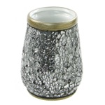 Toothbrush Holder, Gedy MY98-73, Round Grey-Silver Toothbrush Holder