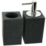 2 Piece Black Bathroom Accessory Set