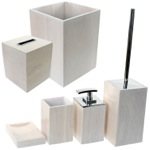 Wooden 6 Piece White Bathroom Accessory Set